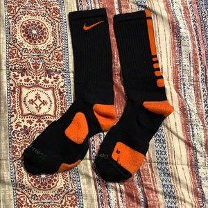 Orange and black nike elite socks